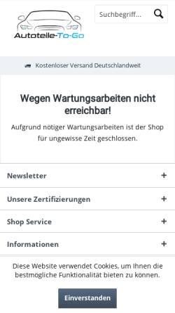 Vorschau der mobilen Webseite www.autoteile-to-go.de, Autoteile-To-Go UG