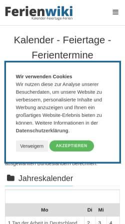 Vorschau der mobilen Webseite www.ferienwiki.de, ferienwiki - Webdetail GmbH