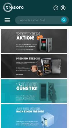 Vorschau der mobilen Webseite www.tresoro.at, Tresoro.at - SECUREO GmbH
