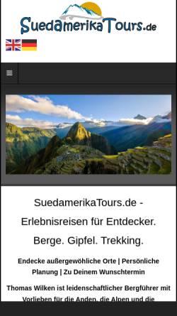 Vorschau der mobilen Webseite suedamerikatours.de, Südamerika Tours