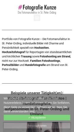 Vorschau der mobilen Webseite fotograf-st-peter-ording.de, Fotograf Martin Kunze - Strandeins by Kim Kunze
