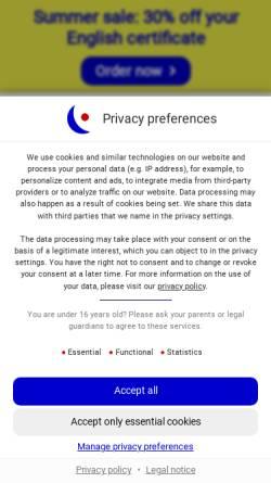 Vorschau der mobilen Webseite www.englishradar.com, EnglishRadar - School of English