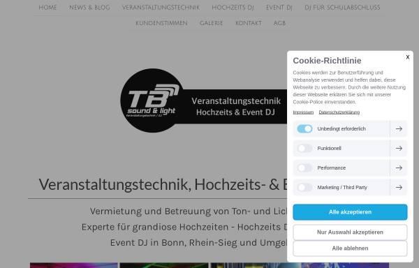 Vorschau von www.tb-sound-light.de, TB sound & light Veranstaltungstechnik