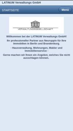 Vorschau der mobilen Webseite www.hausverwaltung-latinum.de, LATINUM Verwaltungs GmbH