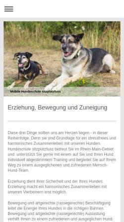 Vorschau der mobilen Webseite www.sitzplatzfuss.net, Hundeschule sitzplatzfuss