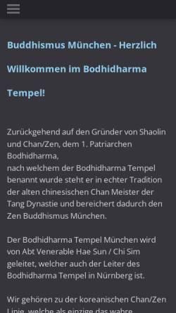 Vorschau der mobilen Webseite www.buddhismusmuenchen.de, Bodhidharma Tempel München