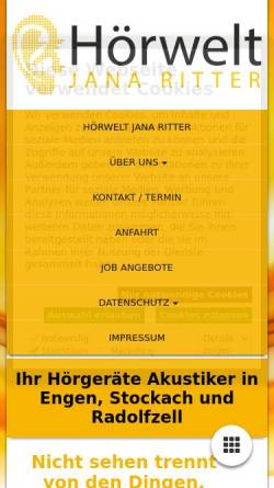 Vorschau der mobilen Webseite www.hoerwelt-jana-ritter.de, Hörwelt Jana Ritter