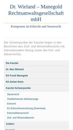 Vorschau der mobilen Webseite www.radrwieland.de, Kanzlei Dr. Max Wieland