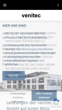 Vorschau der mobilen Webseite www.venitec.de, venitec GmbH