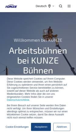 Vorschau der mobilen Webseite www.kunze-buehnen.com, Kunze GmbH