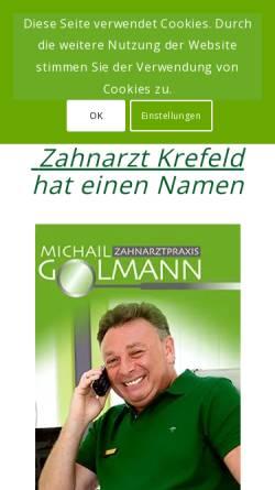 Vorschau der mobilen Webseite www.zahnarztpraxis-in-krefeld.de, Zahnarzt Michail Golmann