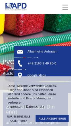 Vorschau der mobilen Webseite www.apd-schlauchtechnik.de, APD Schlauchtechnik GmbH