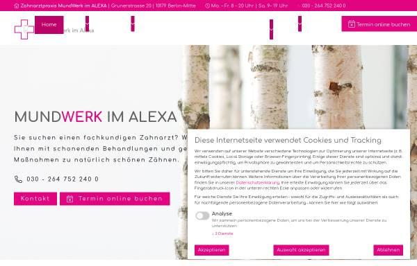 Vorschau von www.mundwerk-alexa.de, Zahnarztpraxis MundWerk im Alexa Berlin