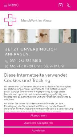 Vorschau der mobilen Webseite www.mundwerk-alexa.de, Zahnarztpraxis MundWerk im Alexa Berlin