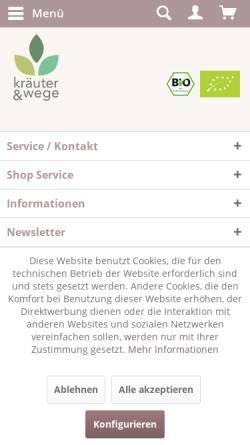 Vorschau der mobilen Webseite www.kraeuter-wege.de, Kräuter & Wege GmbH