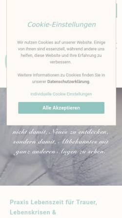 Vorschau der mobilen Webseite www.lebenszeit-pentenrieder.de, Praxis Lebenszeit - Jasmin Pentenrieder
