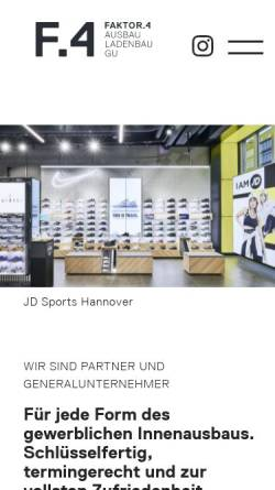 Vorschau der mobilen Webseite www.faktor4-ausbau.de, FAKTOR4 Ausbau GmbH & Co. KG