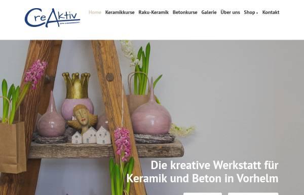 Vorschau von www.creaktiv-keramikwerkstatt.de, CreAktiv Keramikwerkstatt - Martina Bömer
