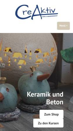 Vorschau der mobilen Webseite www.creaktiv-keramikwerkstatt.de, CreAktiv Keramikwerkstatt - Martina Bömer