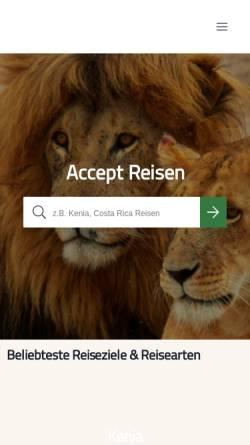 Vorschau der mobilen Webseite www.accept-reisen.de, Accept Reisen GmbH & Co. KG
