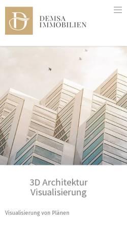 Vorschau der mobilen Webseite www.demsa-immobilien.de, Demsa Immobilien GmbH - Frankfurt am Main