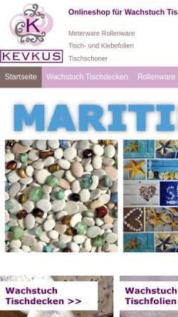 Vorschau der mobilen Webseite www.wachstuch-kevkus.de, KEVKUS