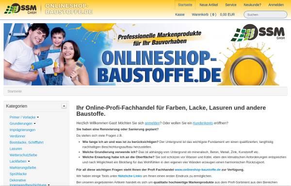 Vorschau von www.onlineshop-baustoffe.de, SSM Projektenwicklungsgesellschaft mbH