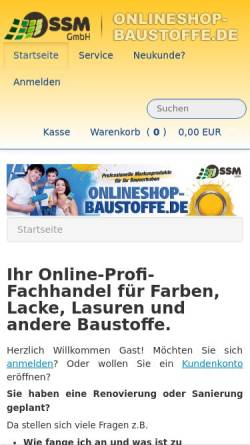 Vorschau der mobilen Webseite www.onlineshop-baustoffe.de, SSM Projektenwicklungsgesellschaft mbH