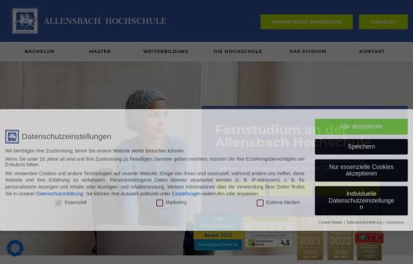 Vorschau von www.allensbach-hochschule.de, Allensbach Hochschule