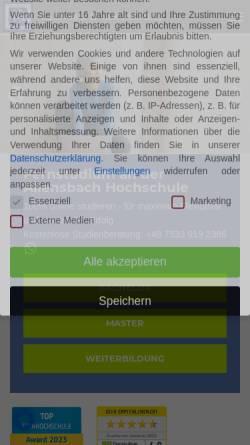 Vorschau der mobilen Webseite www.allensbach-hochschule.de, Allensbach Hochschule