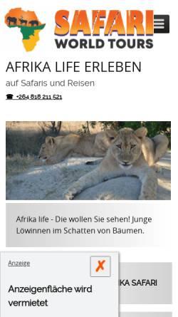 Vorschau der mobilen Webseite www.afrika-safari-reisen.de, Enrico's Tours & Safaris