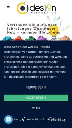 Vorschau der mobilen Webseite des19n.at, des19n Webagentur