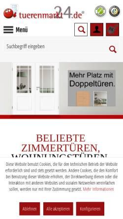 Vorschau der mobilen Webseite www.tuerenmarkt24.de, tuerenmarkt24 - Ortrander Türsysteme GmbH