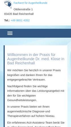 Vorschau der mobilen Webseite www.augenarzt-bad-reichenhall.de, Augenarztpraxis Dr. med. Matthias Klose