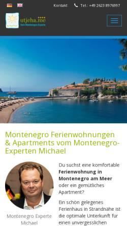 Vorschau der mobilen Webseite utjeha.me, Montenegro Ferienwohnungen UTJEHA