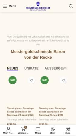 Vorschau der mobilen Webseite goldschmiede-recke.de, Meistergoldschmiede v. d. Recke