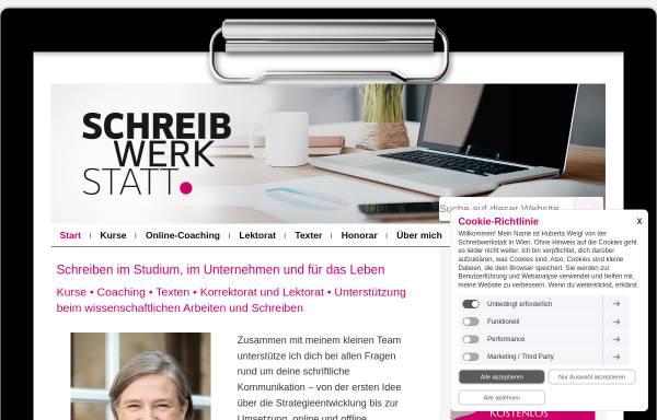 Vorschau von www.schreibwerkstatt.co.at, Schreibwerkstatt e. U. - MMag. Dr. Huberta Weigl