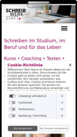 Vorschau der mobilen Webseite www.schreibwerkstatt.co.at, Schreibwerkstatt e. U. - MMag. Dr. Huberta Weigl