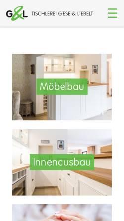 Vorschau der mobilen Webseite www.giese-liebelt.de, Tischlerei Giese & Liebelt