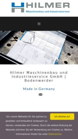 Vorschau der mobilen Webseite www.hilmermaschinenbau.de, Hilmer Maschinenbau GmbH