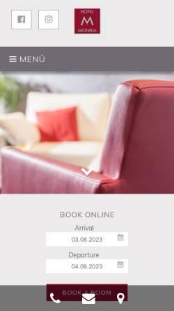 Vorschau der mobilen Webseite hotelmonika.de, Hotel Monika