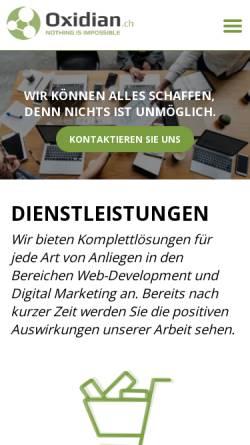 Vorschau der mobilen Webseite oxidian.ch, Oxidian GmbH