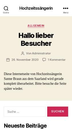 Vorschau der mobilen Webseite www.hochzeitssaenger-saarland.de, Hochzeitssängerin Susanne Braun