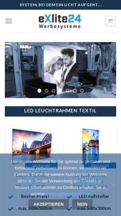 Vorschau der mobilen Webseite www.exlite24.de, eXlite24 Werbesysteme