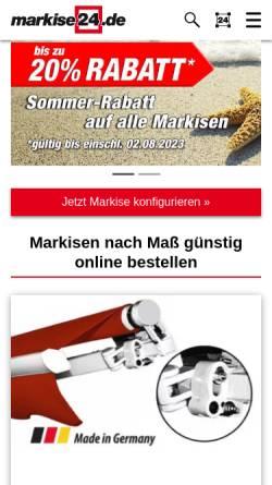 Vorschau der mobilen Webseite www.markise24.de, markise24 - Inter Vertriebs GmbH