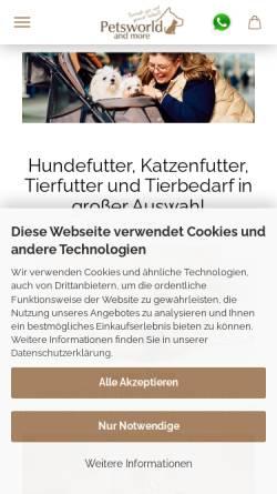 Vorschau der mobilen Webseite petsworld-and-more.de, Petsworld and more