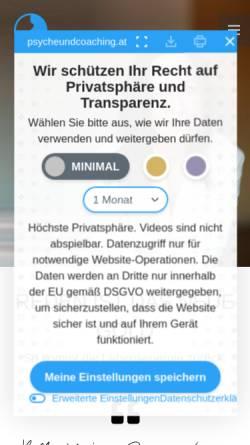 Vorschau der mobilen Webseite psycheundcoaching.at, Psychotherapie und Coaching - MMag. Caterina Wildt