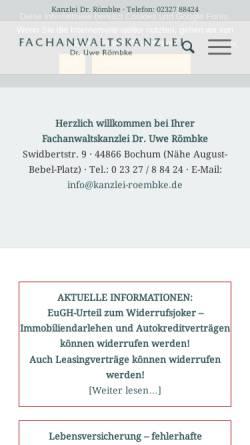 Vorschau der mobilen Webseite www.dr-roembke.de, Kanzlei Dr. Römbke & Steffens