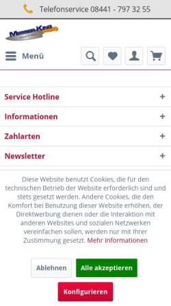 Vorschau der mobilen Webseite www.messer-king.de, MESSER-KING