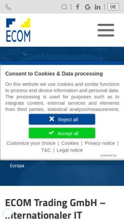 Vorschau der mobilen Webseite www.ecom-trading.de, Ecom Electronic Components Trading GmbH